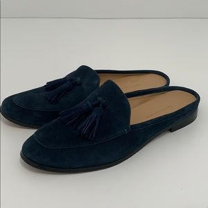 Banana republic navy blue suede slip on loafers